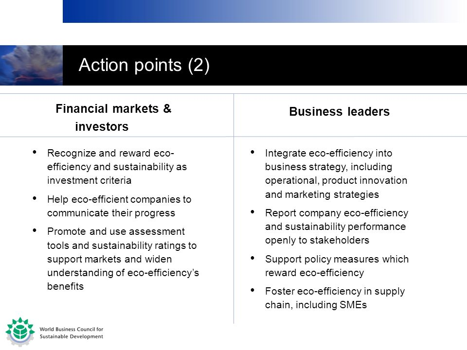 Action points (2) Financial markets & investors Business leaders