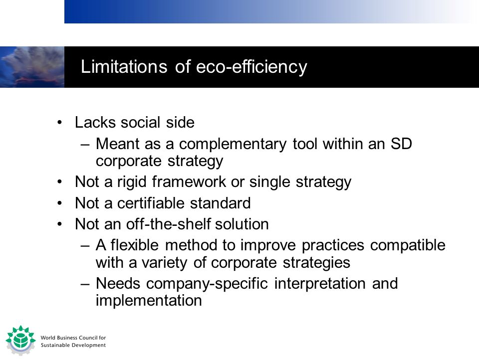 Limitations of eco-efficiency