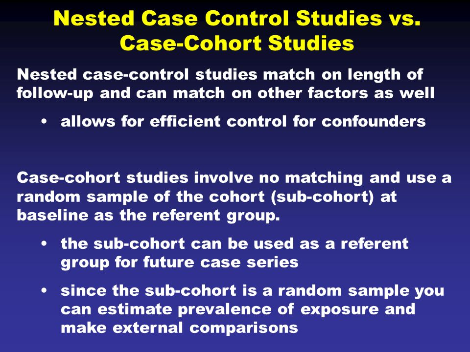 case series study The self controlled case series (sccs) method is an epidemiological study design for which individuals act as their own control—ie, comparisons are made within individuals.