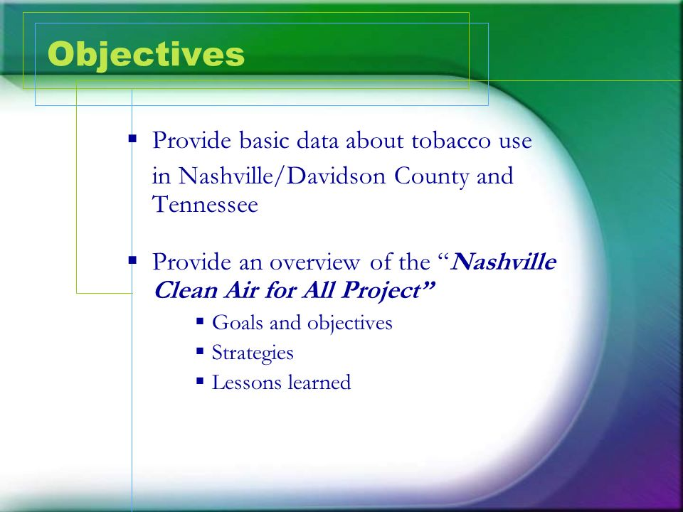 Objectives Provide basic data about tobacco use
