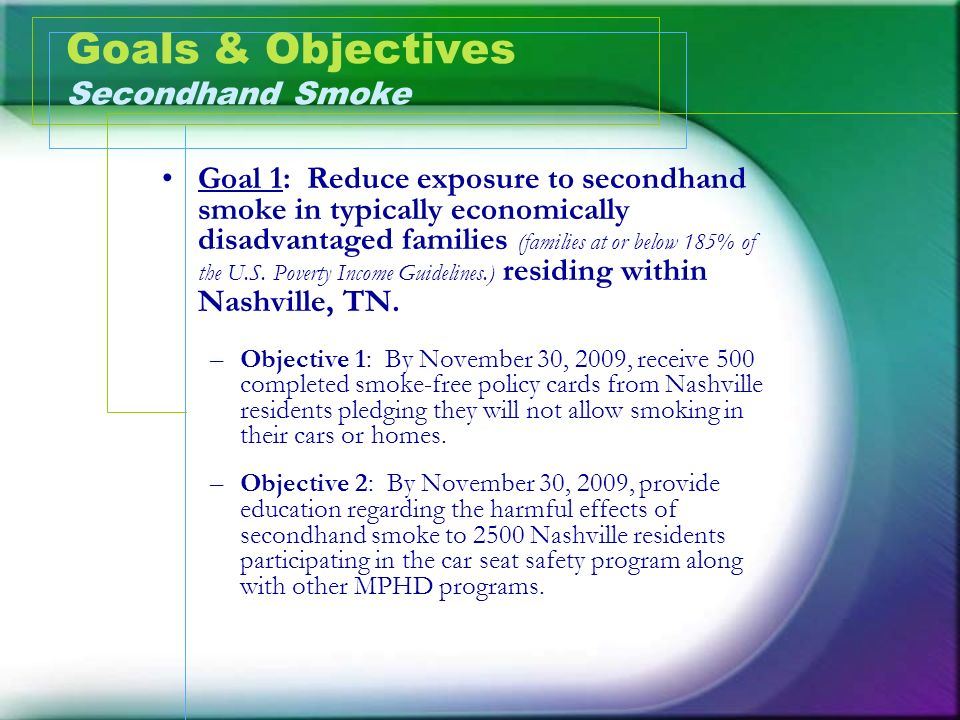 Goals & Objectives Secondhand Smoke