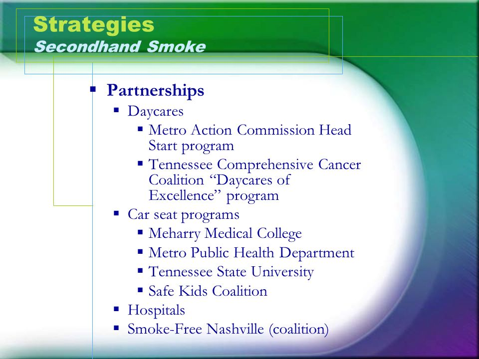 Strategies Secondhand Smoke