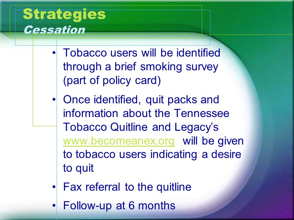 Strategies Cessation Tobacco users will be identified through a brief smoking survey (part of policy card)