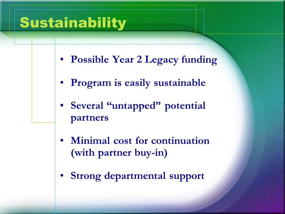 Sustainability Possible Year 2 Legacy funding