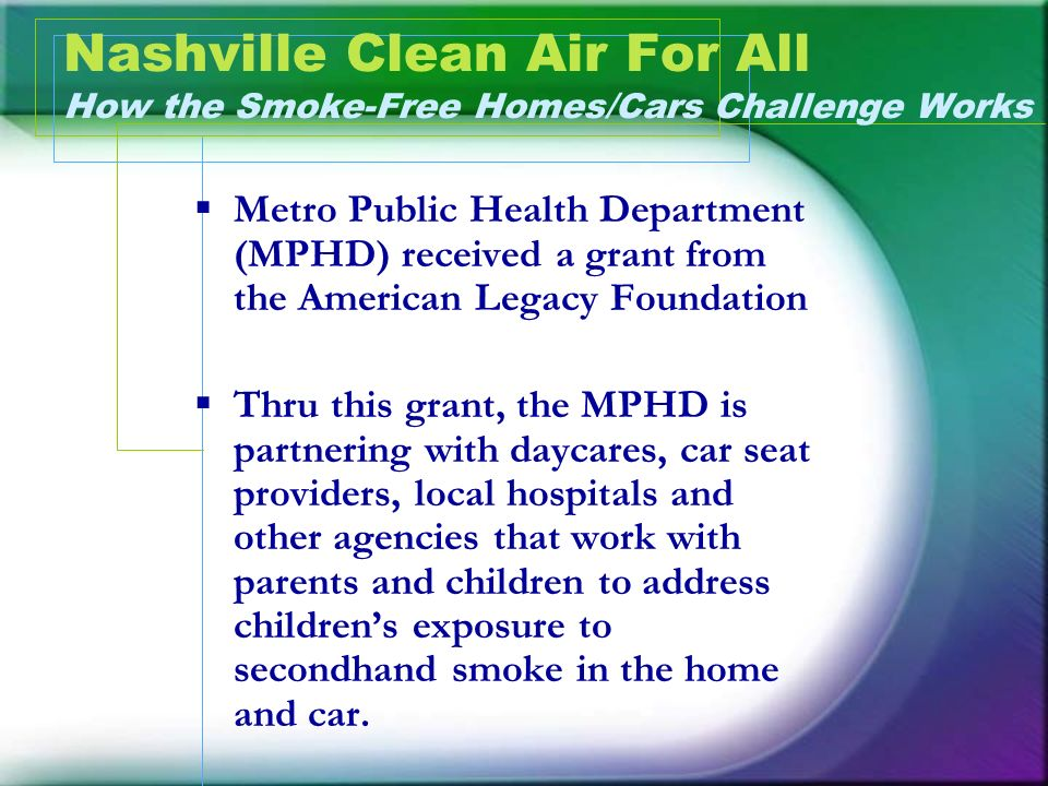 Nashville Clean Air For All How the Smoke-Free Homes/Cars Challenge Works