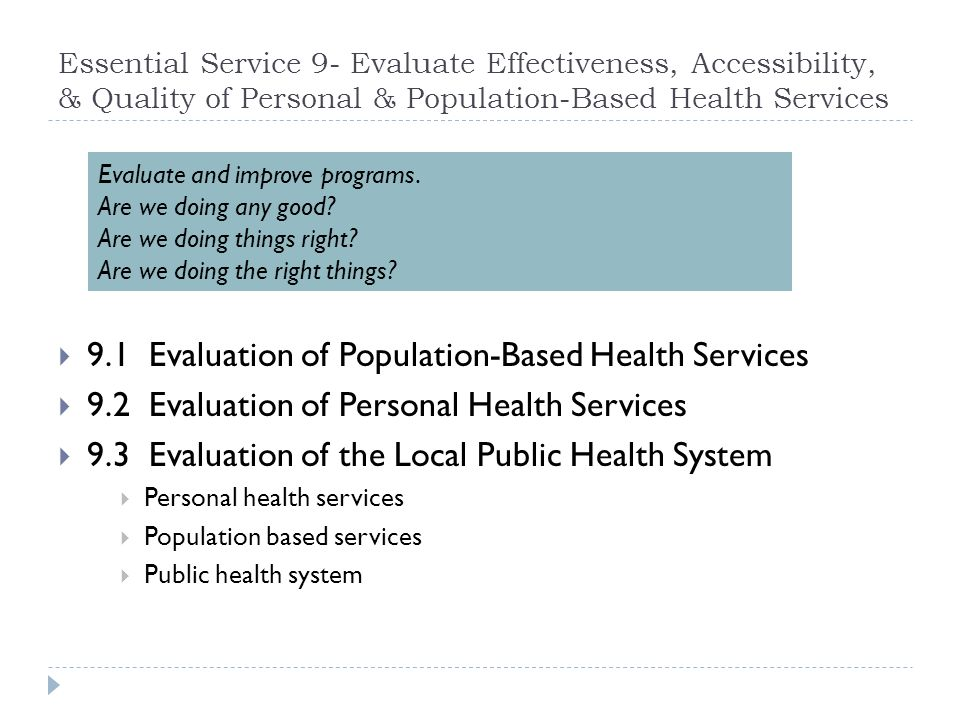9.1 Evaluation of Population-Based Health Services