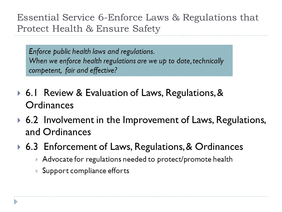 6.1 Review & Evaluation of Laws, Regulations, & Ordinances