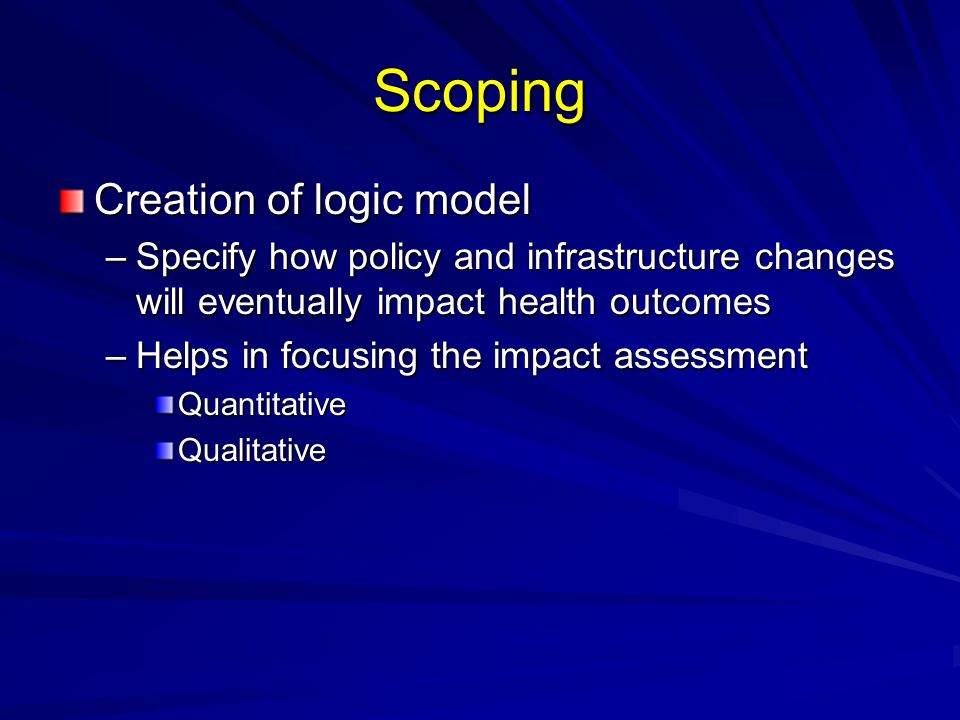 Scoping Creation of logic model