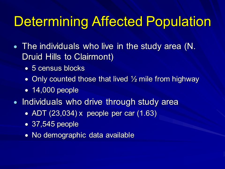Determining Affected Population