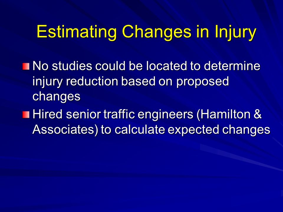 Estimating Changes in Injury