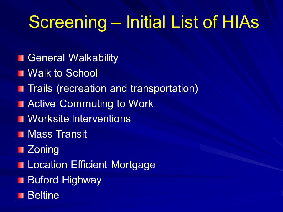 Screening – Initial List of HIAs