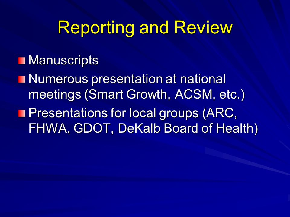 Reporting and Review Manuscripts