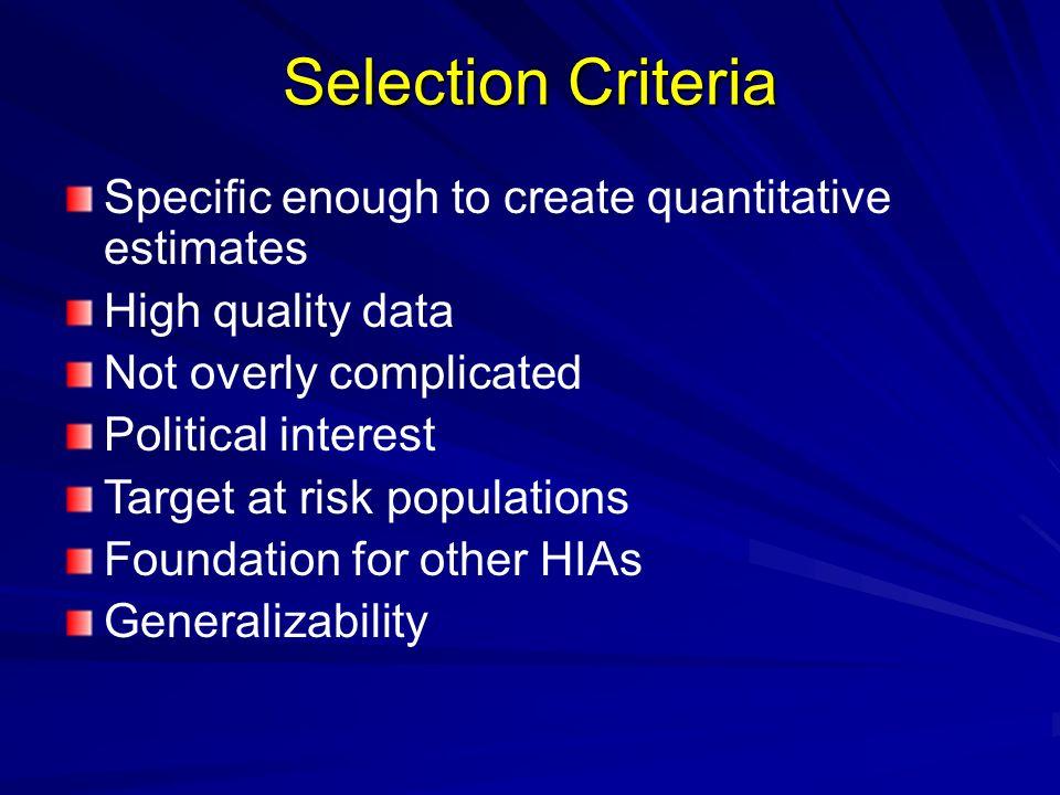 Selection Criteria Specific enough to create quantitative estimates