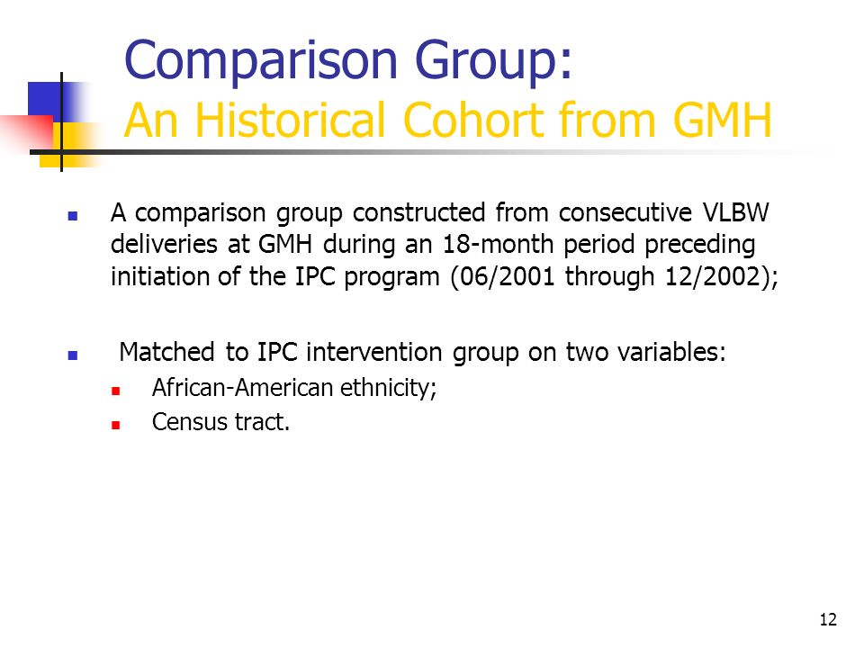 Comparison Group: An Historical Cohort from GMH