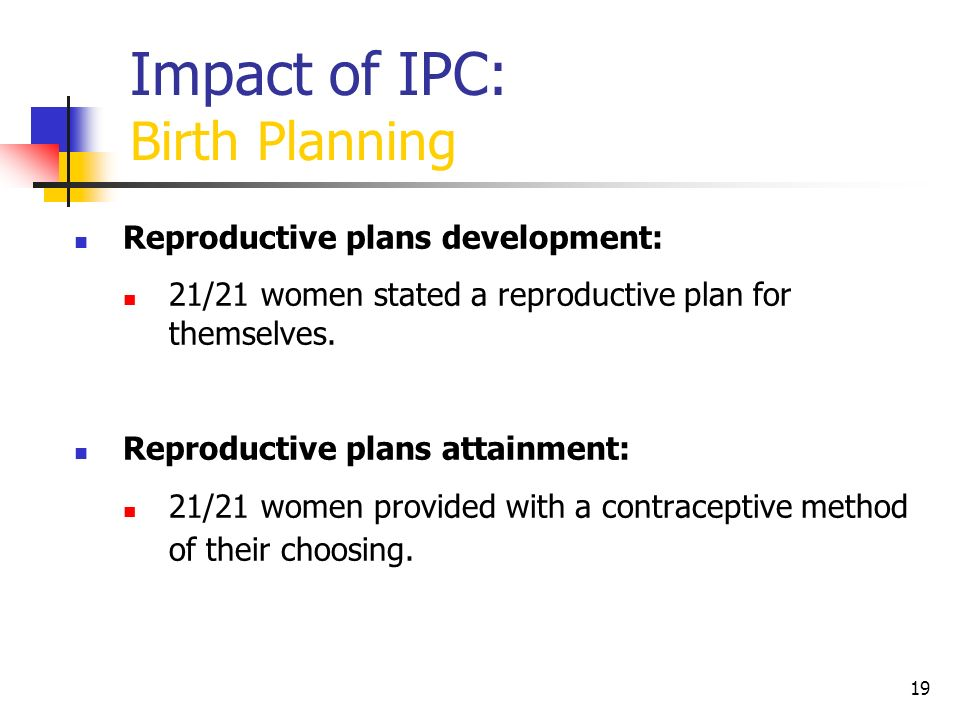 Impact of IPC: Birth Planning