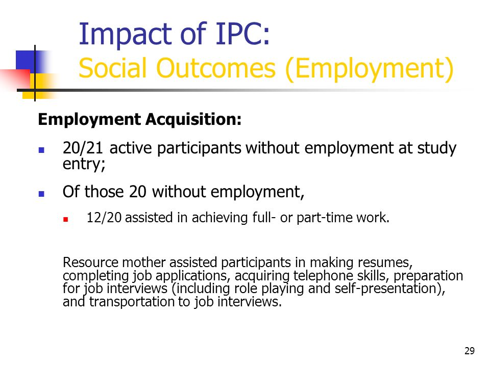 Impact of IPC: Social Outcomes (Employment)