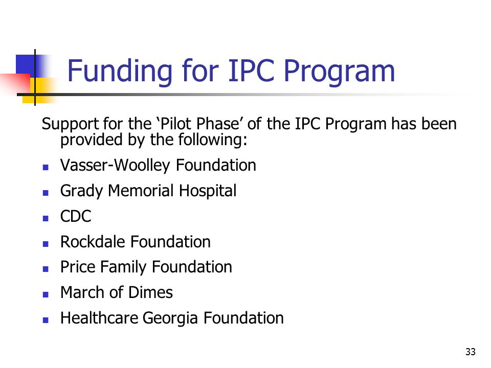 Funding for IPC Program