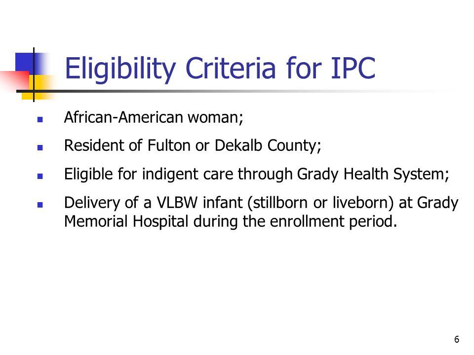 Eligibility Criteria for IPC