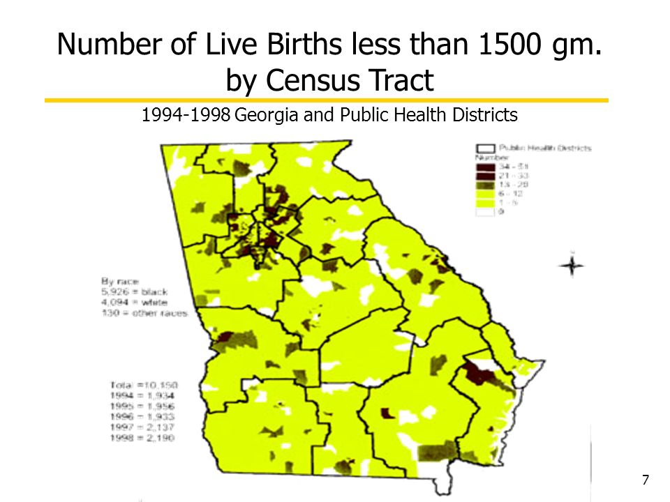 Number of Live Births less than 1500 gm. by Census Tract