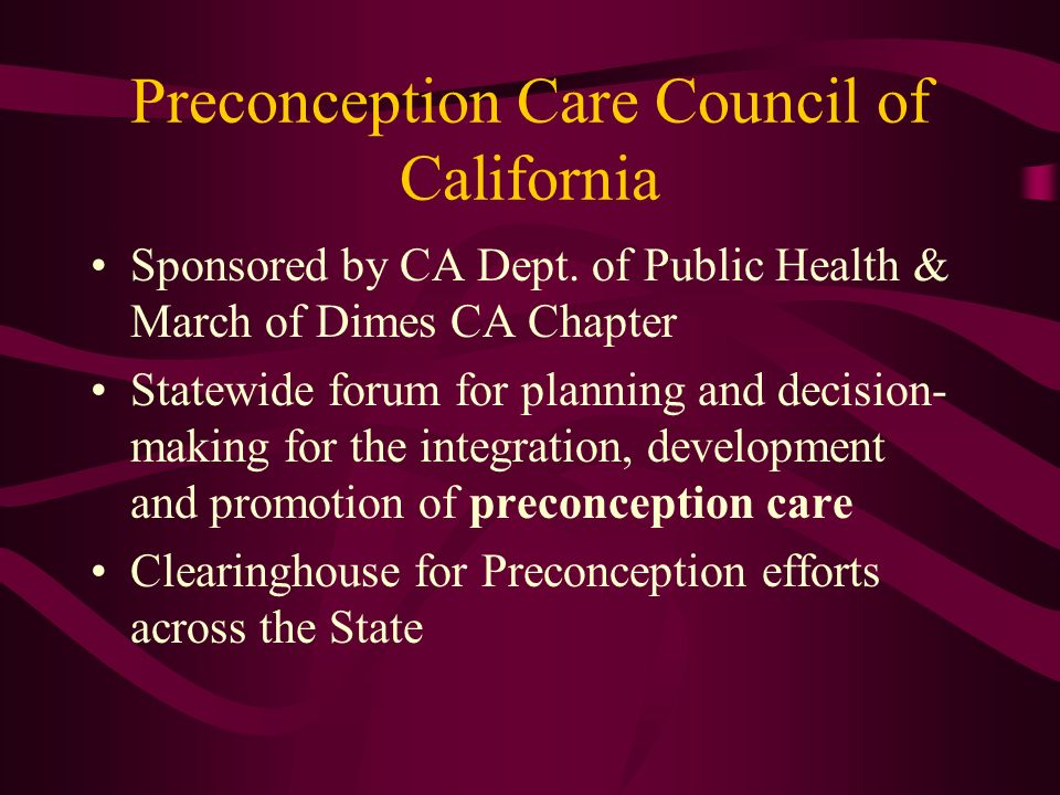 Preconception Care Council of California