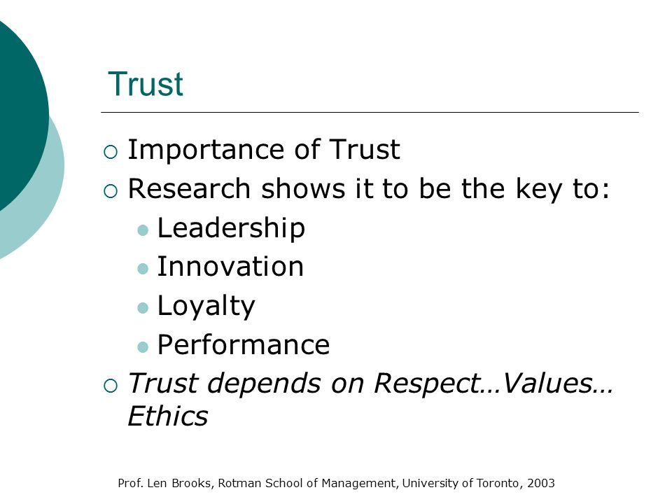 an introduction to the importance of trust The speed of trust summary shows you why trust makes everything faster, how you can build it like confidence and why mcdonald's is a prime example.