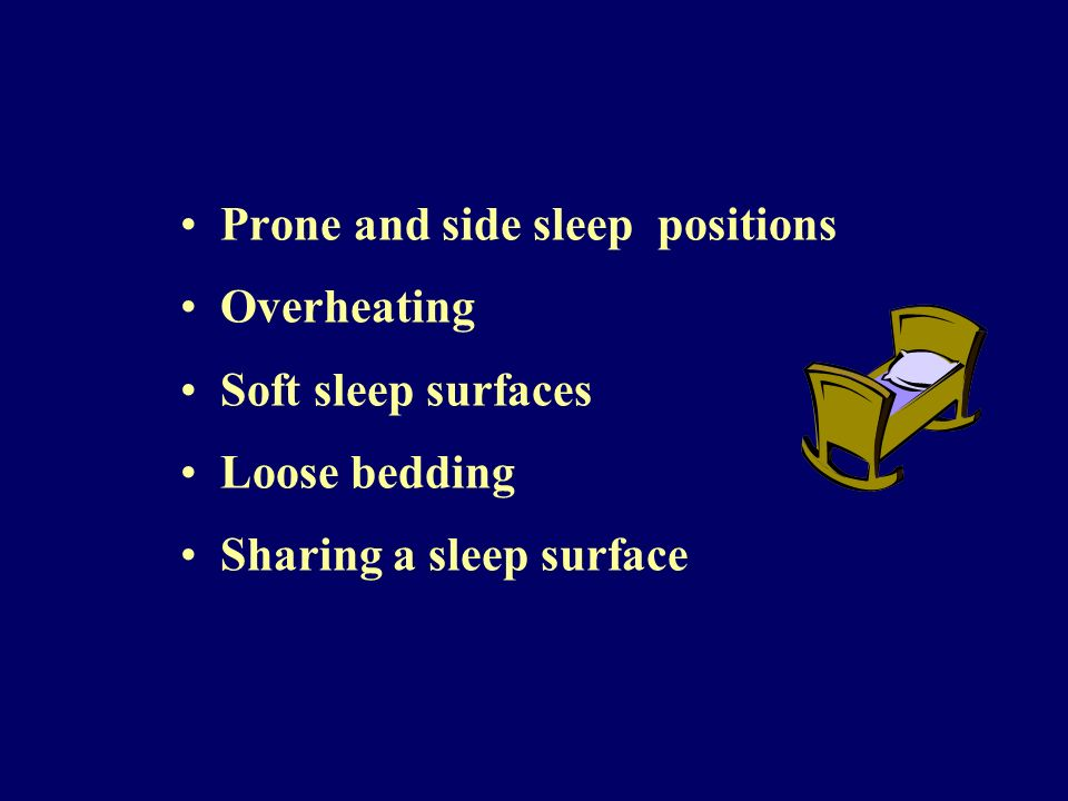 Prone and side sleep positions Overheating Soft sleep surfaces