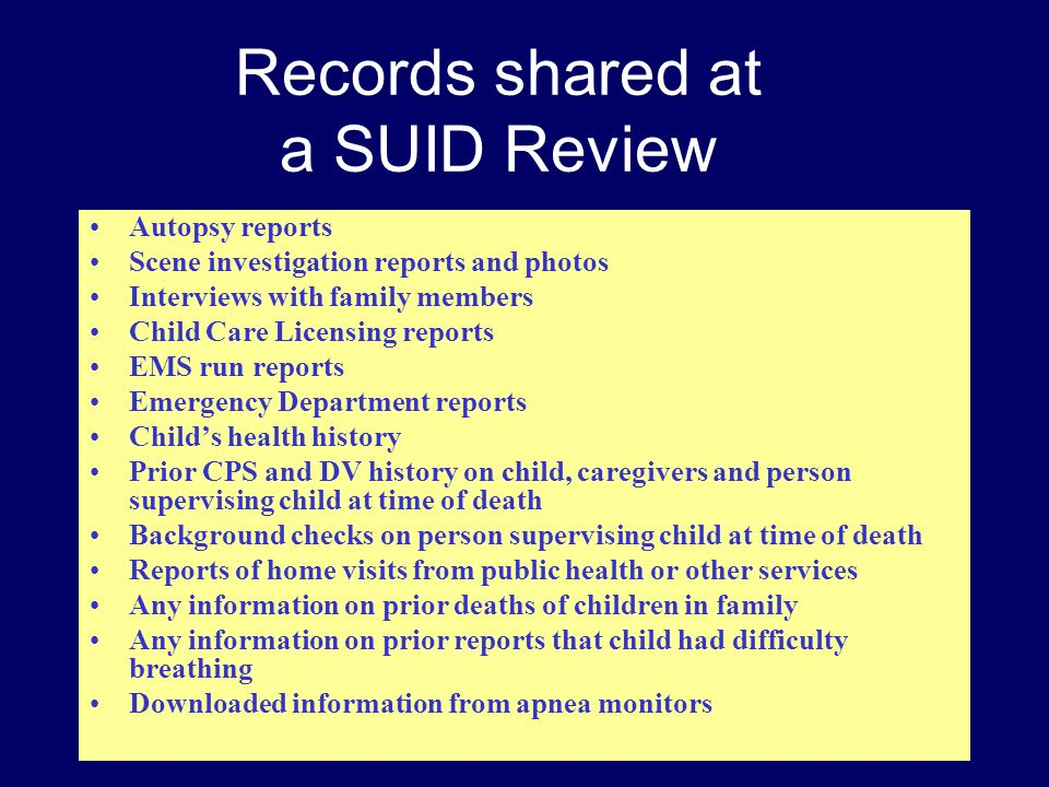 Records shared at a SUID Review