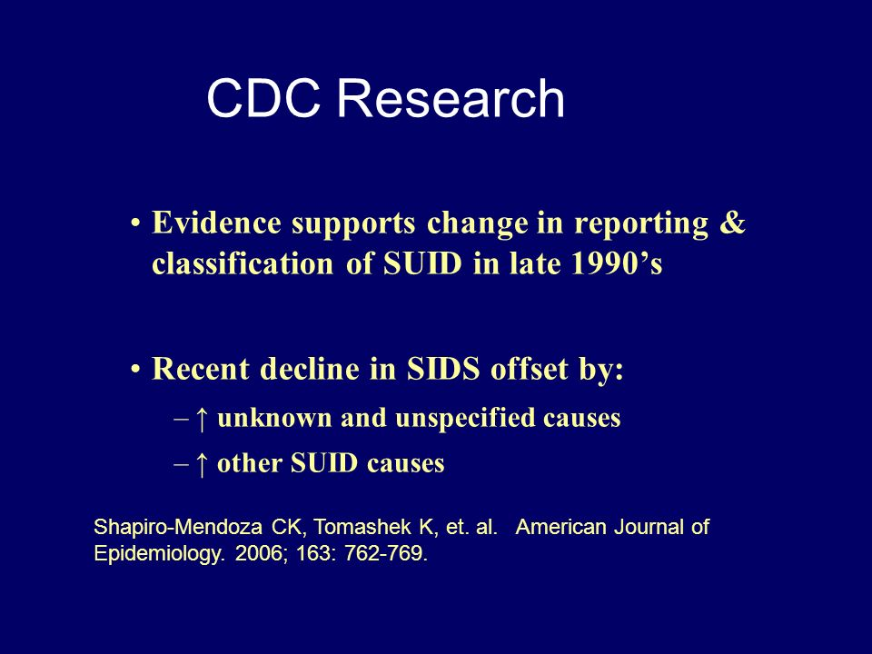 CDC Research Evidence supports change in reporting & classification of SUID in late 1990's. Recent decline in SIDS offset by: