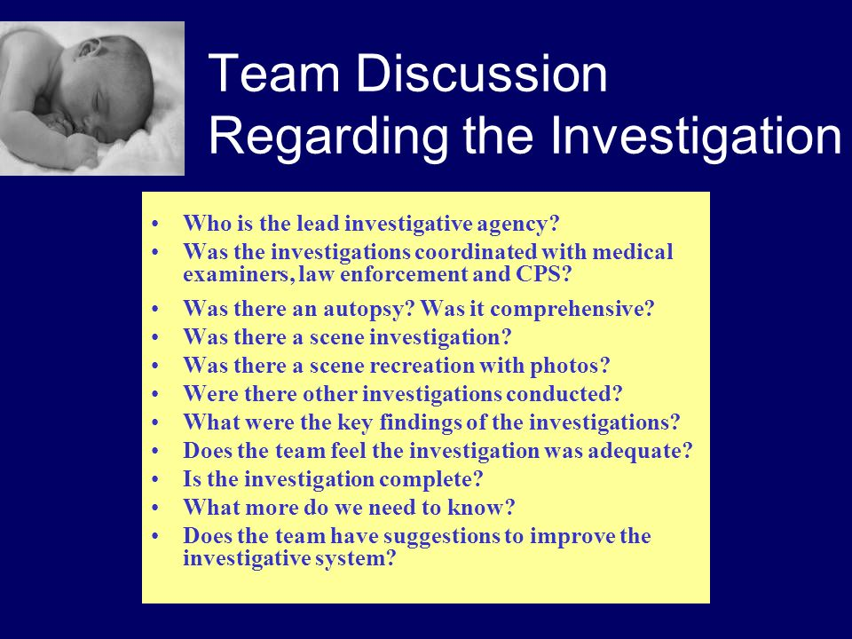 Team Discussion Regarding the Investigation