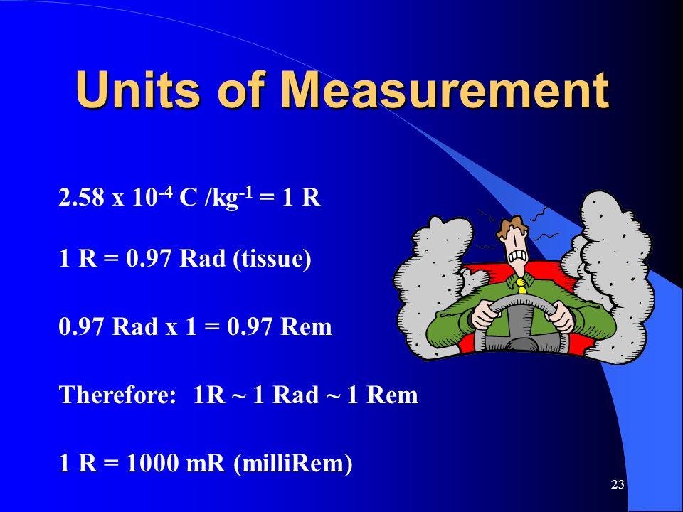 Units of Measurement 2.58 x 10-4 C /kg-1 = 1 R 1 R = 0.97 Rad (tissue)