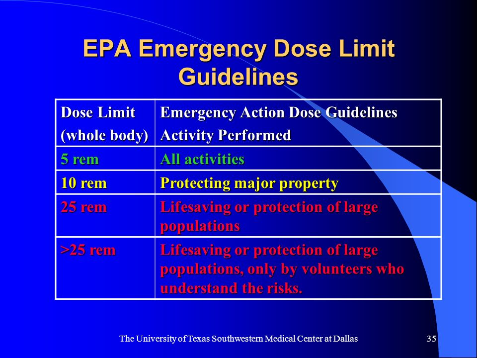 EPA Emergency Dose Limit Guidelines