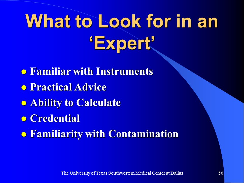 What to Look for in an 'Expert'