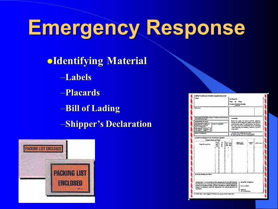 Emergency Response Identifying Material Labels Placards Bill of Lading