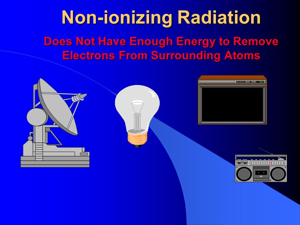 Non-ionizing Radiation Does Not Have Enough Energy to Remove Electrons From Surrounding Atoms