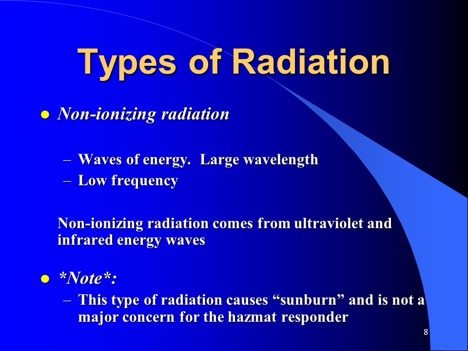 Types of Radiation Non-ionizing radiation *Note*: