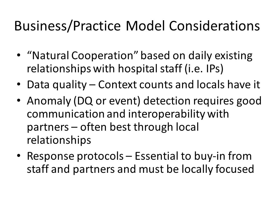 Business/Practice Model Considerations