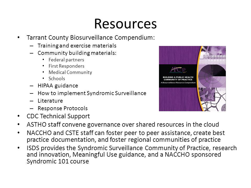 Resources Tarrant County Biosurveillance Compendium: