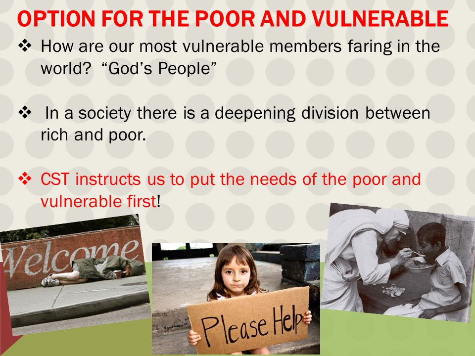 Option for the poor and vulnerable