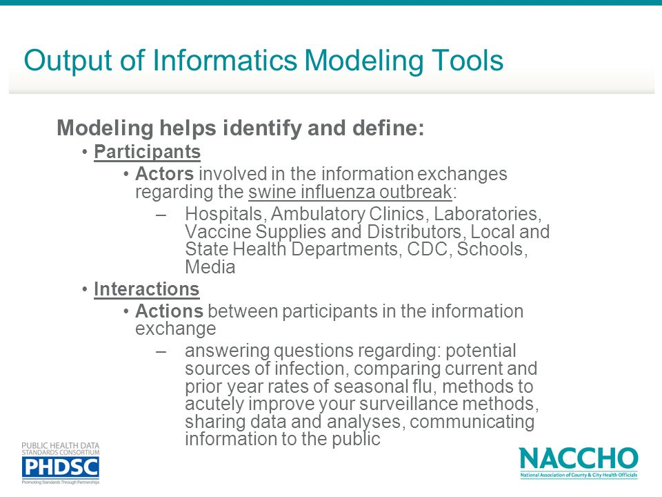 Output of Informatics Modeling Tools
