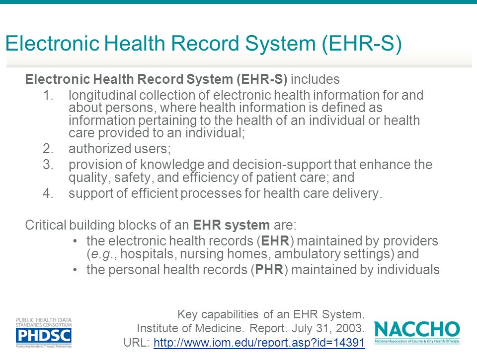 Electronic Health Record System (EHR-S)