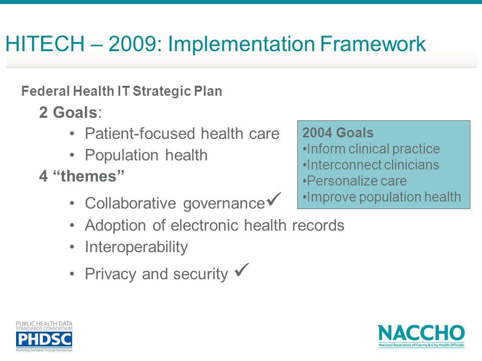 HITECH – 2009: Implementation Framework
