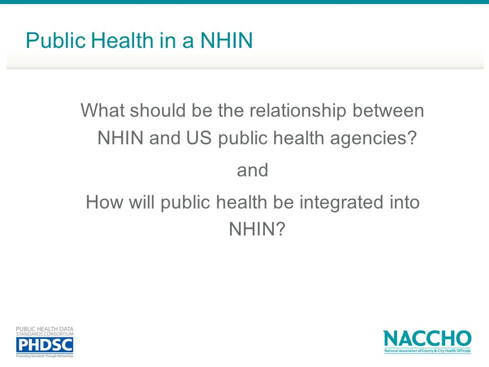 How will public health be integrated into NHIN