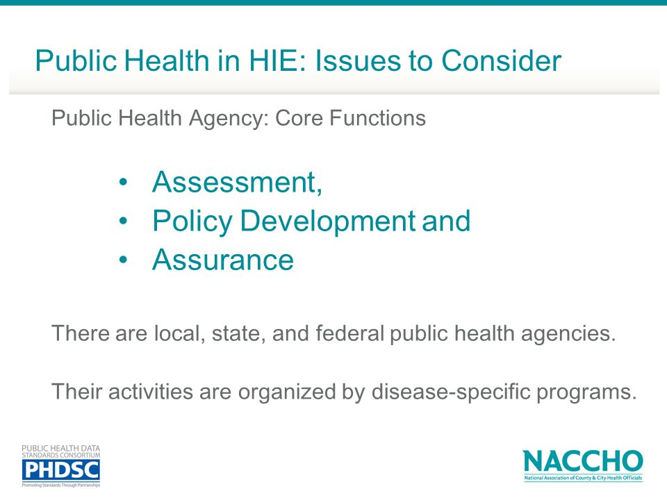 Public Health in HIE: Issues to Consider