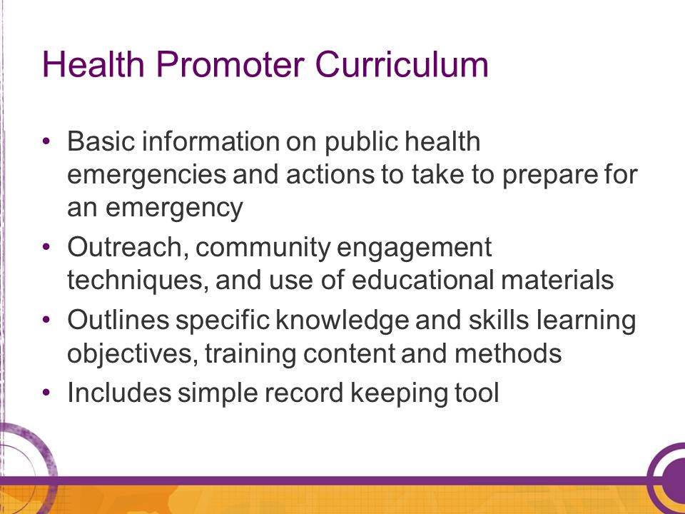 Health Promoter Curriculum
