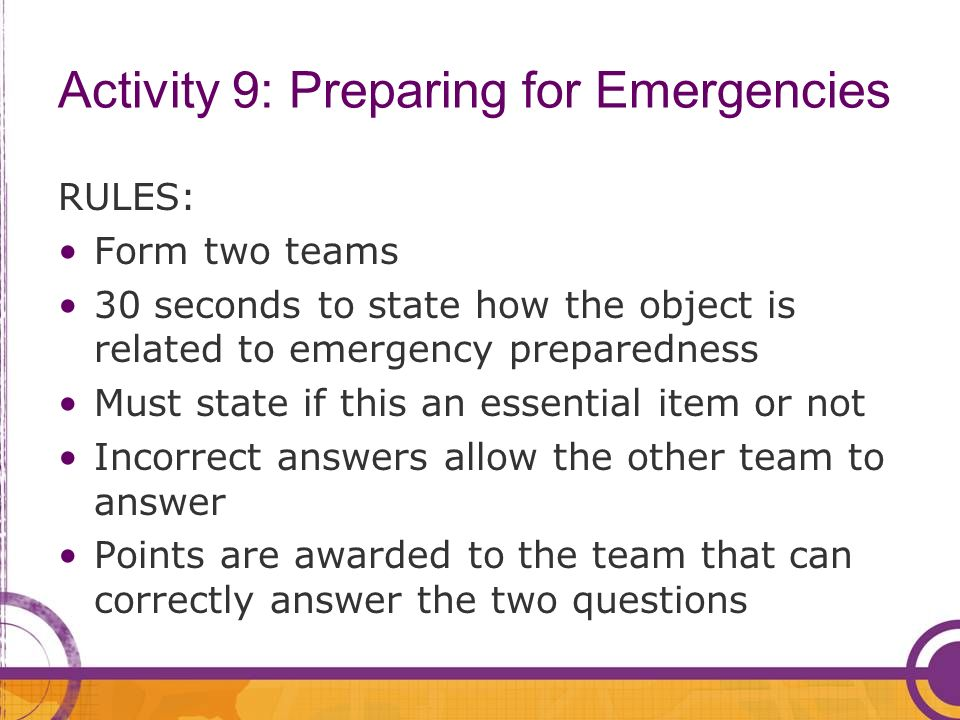 Activity 9: Preparing for Emergencies