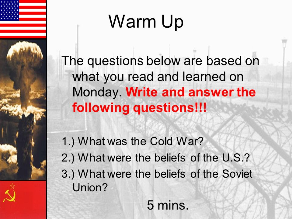 Warm Up The questions below are based on what you read and learned on Monday. Write and answer the following questions!!!