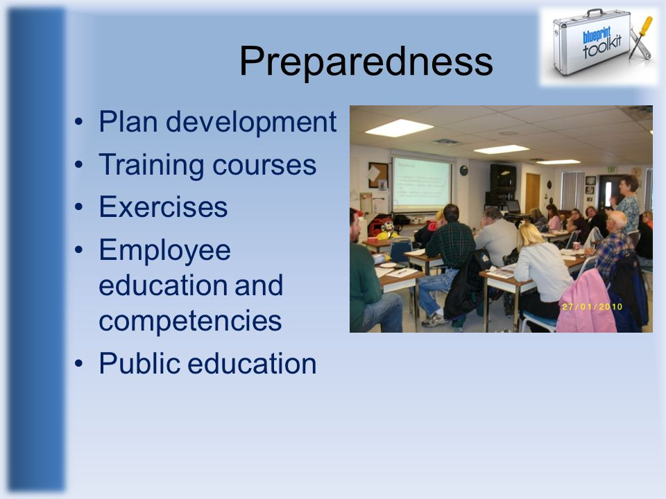 Preparedness Plan development Training courses Exercises