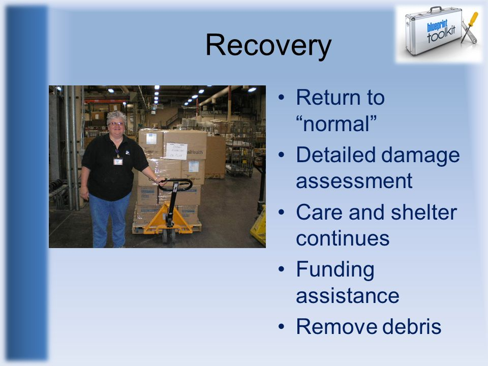 Recovery Return to normal Detailed damage assessment