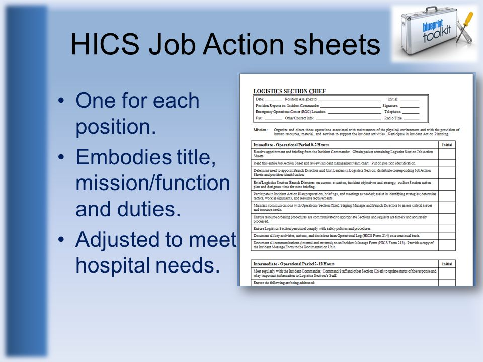 HICS Job Action sheets One for each position.