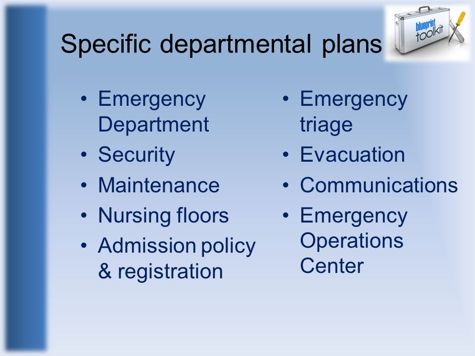Specific departmental plans